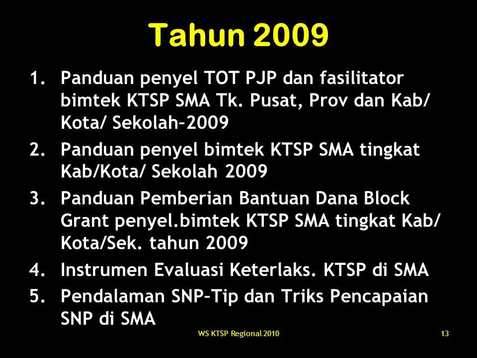 Tahun 2009 Panduan penyel TOT PJP dan fasilitator bimtek KTSP SMA Tk. Pusat, Prov dan Kab/ Kota/ Sekolah–2009.
