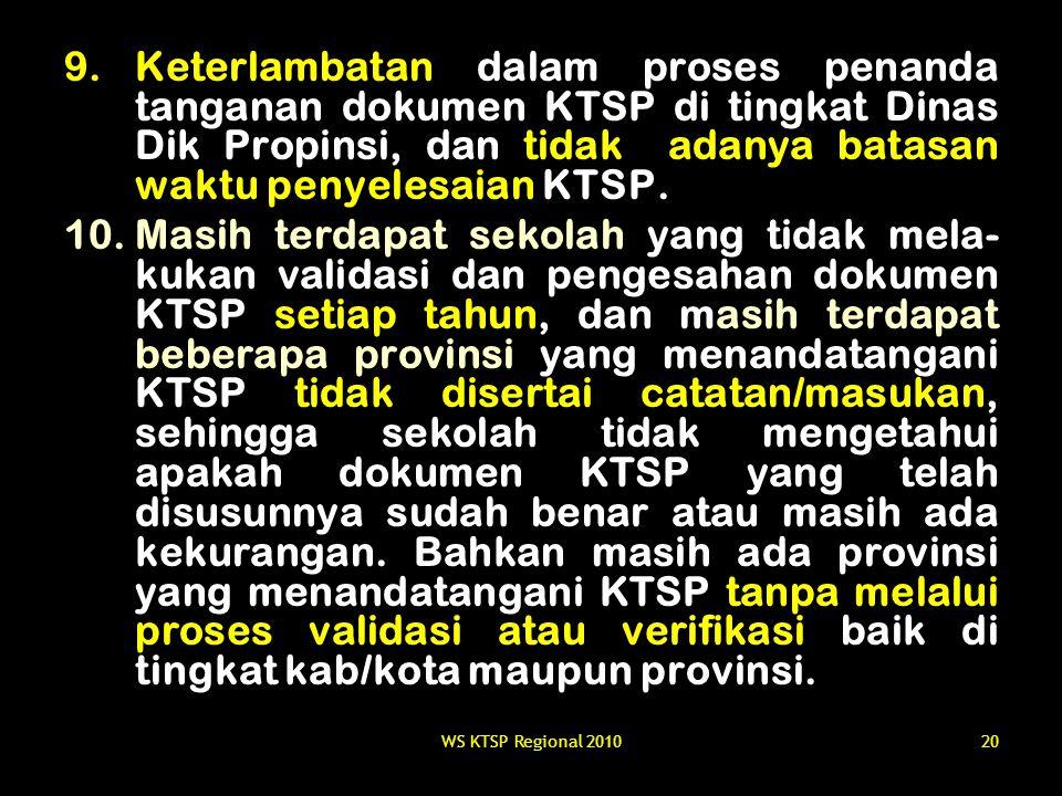 Keterlambatan dalam proses penanda tanganan dokumen KTSP di tingkat Dinas Dik Propinsi, dan tidak adanya batasan waktu penyelesaian KTSP.