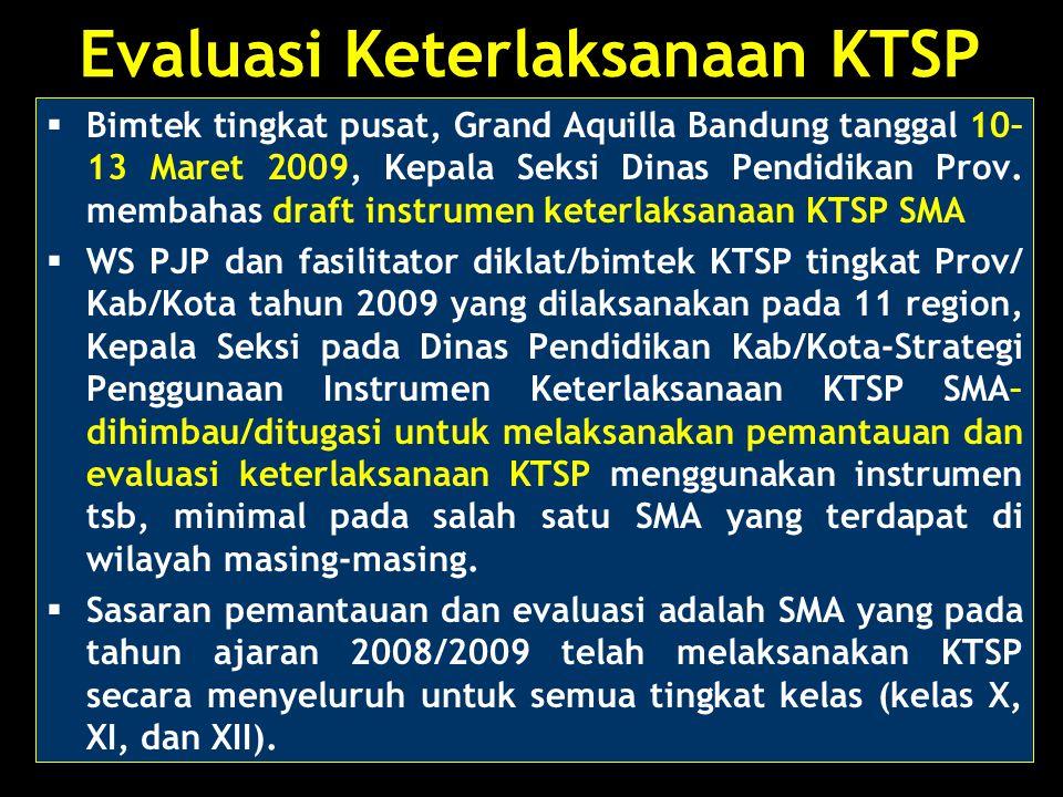Evaluasi Keterlaksanaan KTSP