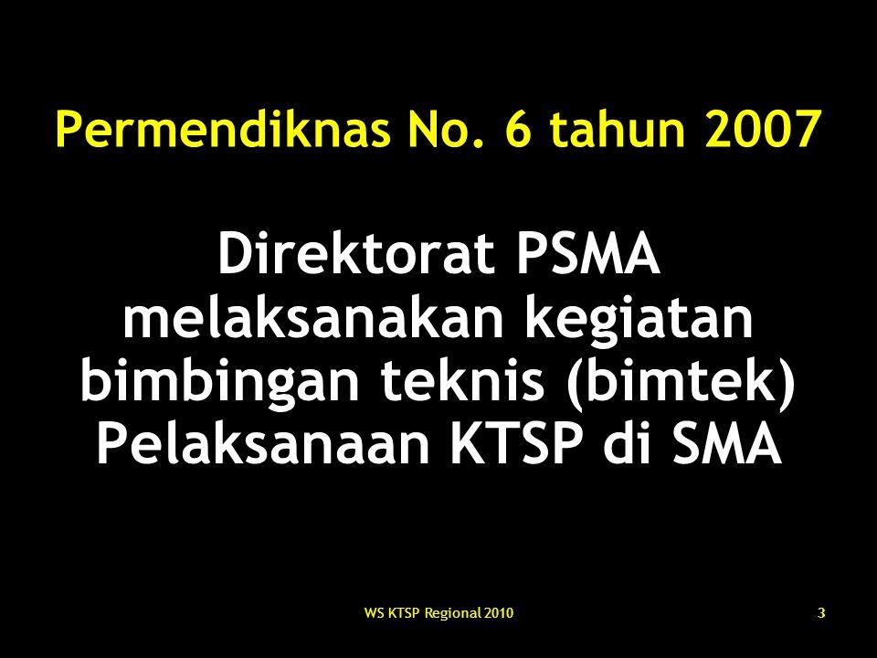 Permendiknas No. 6 tahun 2007 Direktorat PSMA melaksanakan kegiatan bimbingan teknis (bimtek) Pelaksanaan KTSP di SMA.