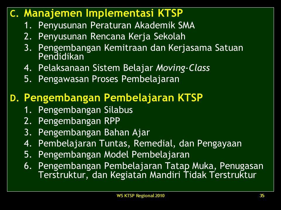 C. Manajemen Implementasi KTSP Penyusunan Peraturan Akademik SMA