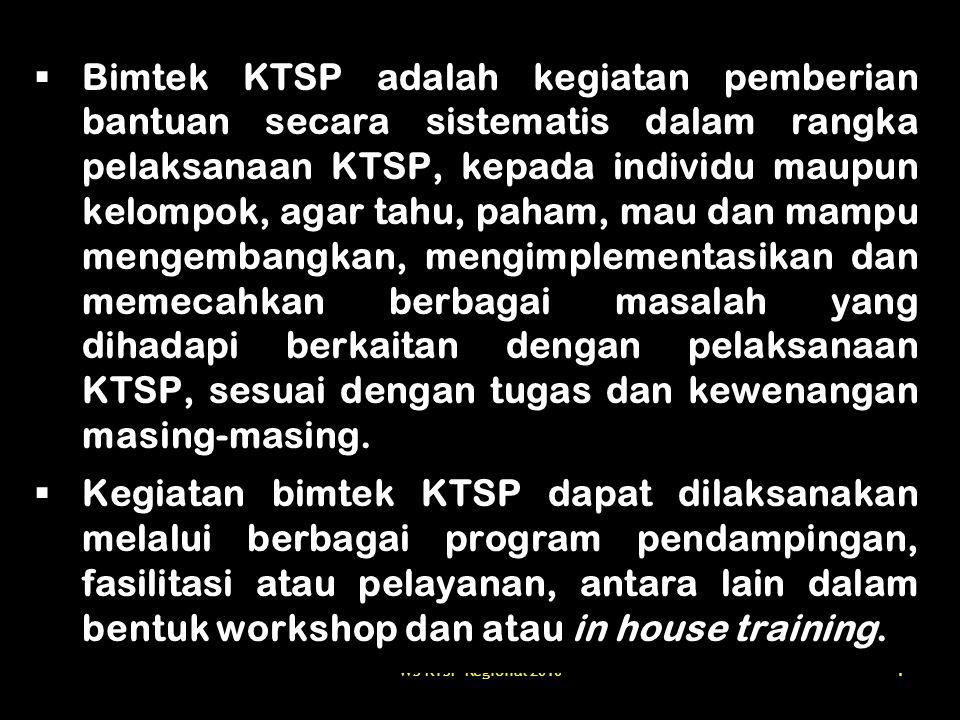 Bimtek KTSP adalah kegiatan pemberian bantuan secara sistematis dalam rangka pelaksanaan KTSP, kepada individu maupun kelompok, agar tahu, paham, mau dan mampu mengembangkan, mengimplementasikan dan memecahkan berbagai masalah yang dihadapi berkaitan dengan pelaksanaan KTSP, sesuai dengan tugas dan kewenangan masing-masing.