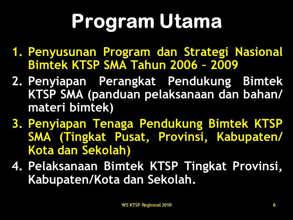 Program Utama Penyusunan Program dan Strategi Nasional Bimtek KTSP SMA Tahun 2006 – 2009.