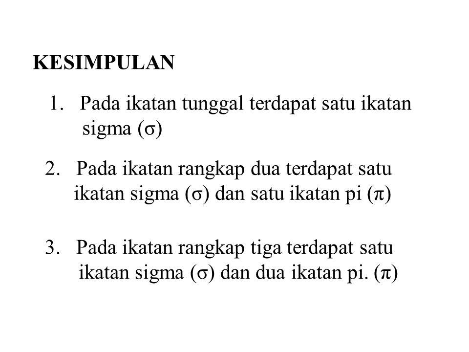 KESIMPULAN 1. Pada ikatan tunggal terdapat satu ikatan sigma (σ)