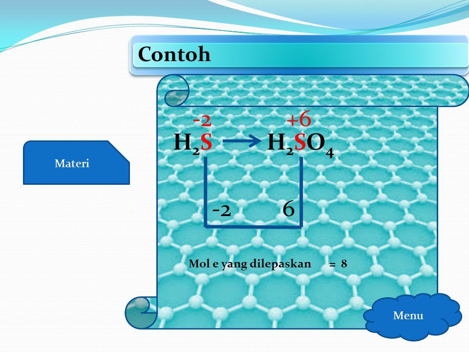 Contoh -2 +6 H2S H2SO4 Materi -2 6 Mol e yang dilepaskan = 8 Menu