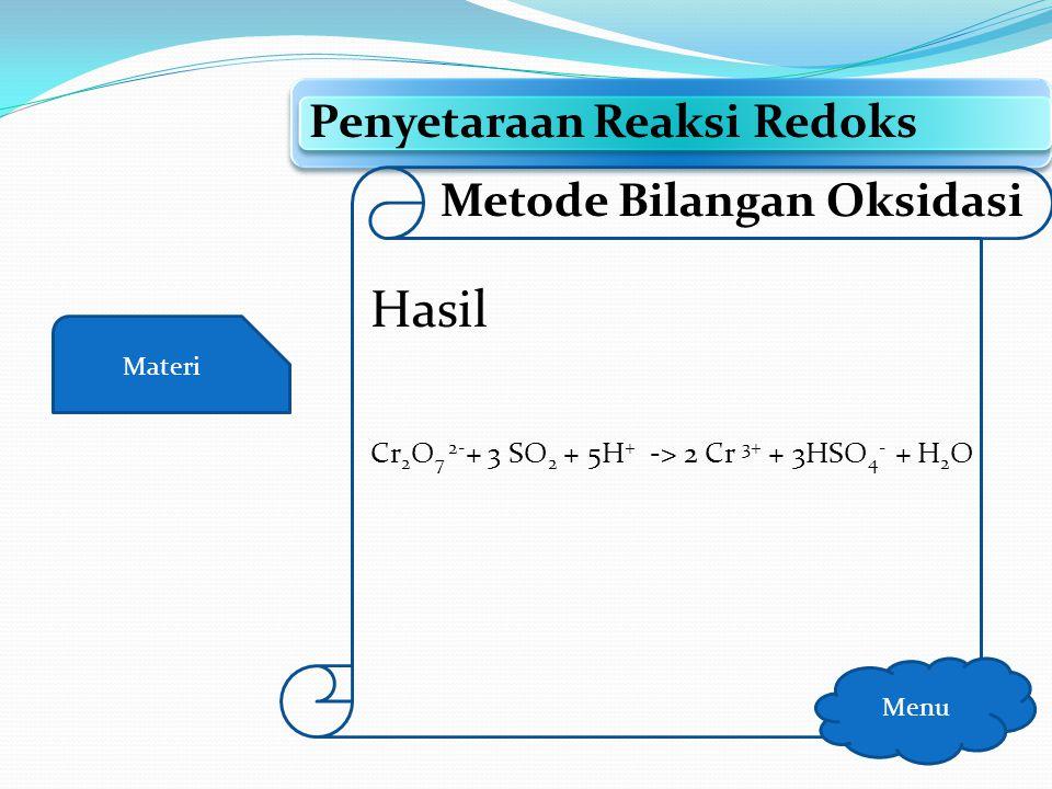 Hasil Penyetaraan Reaksi Redoks Metode Bilangan Oksidasi