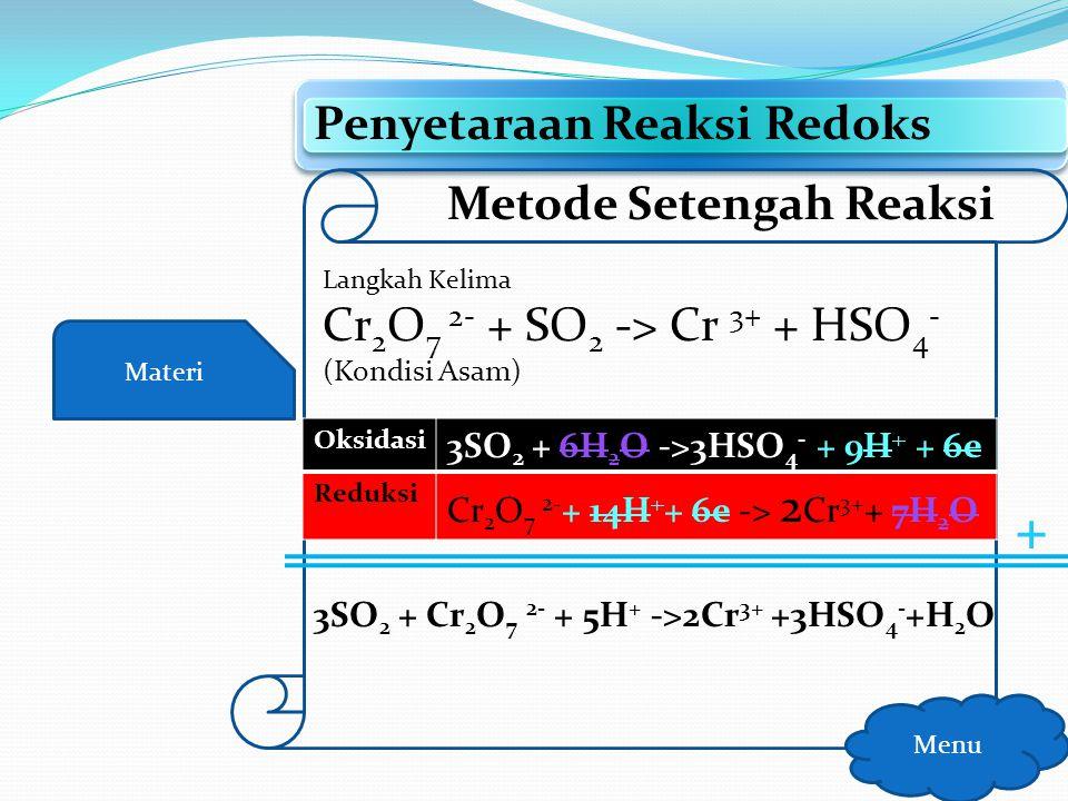 + Penyetaraan Reaksi Redoks Metode Setengah Reaksi