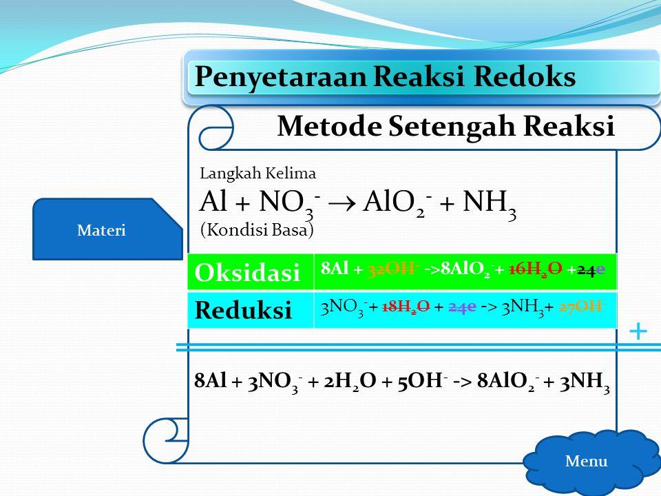 + Penyetaraan Reaksi Redoks Metode Setengah Reaksi Oksidasi Reduksi