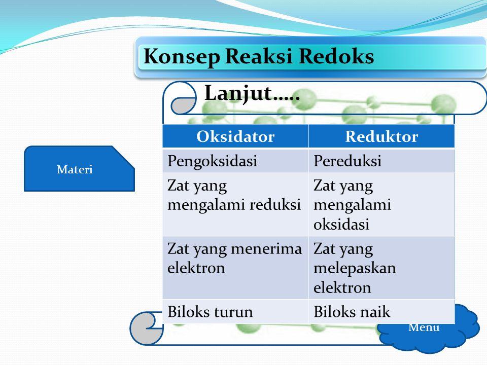 Konsep Reaksi Redoks Lanjut….. Oksidator Reduktor Pengoksidasi