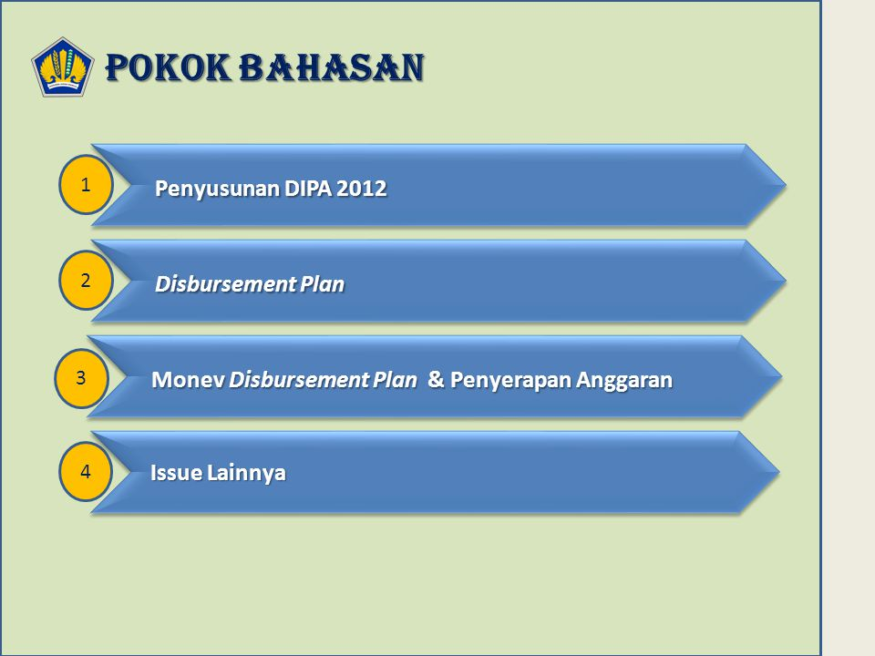 POKOK BAHASAN Penyusunan DIPA 2012 Disbursement Plan