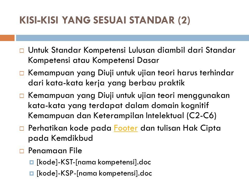 KISI-KISI YANG SESUAI STANDAR (2)