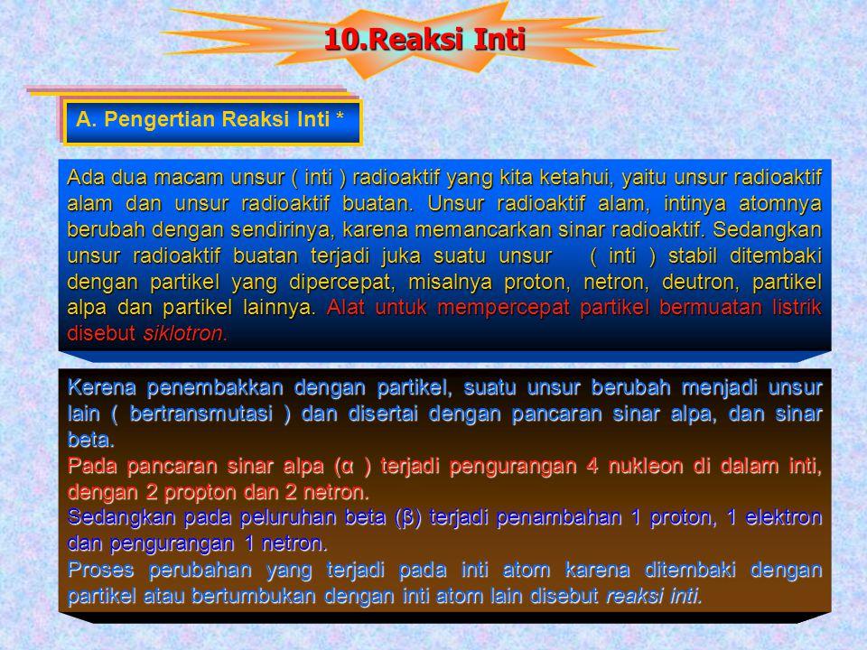 10.Reaksi Inti A. Pengertian Reaksi Inti *