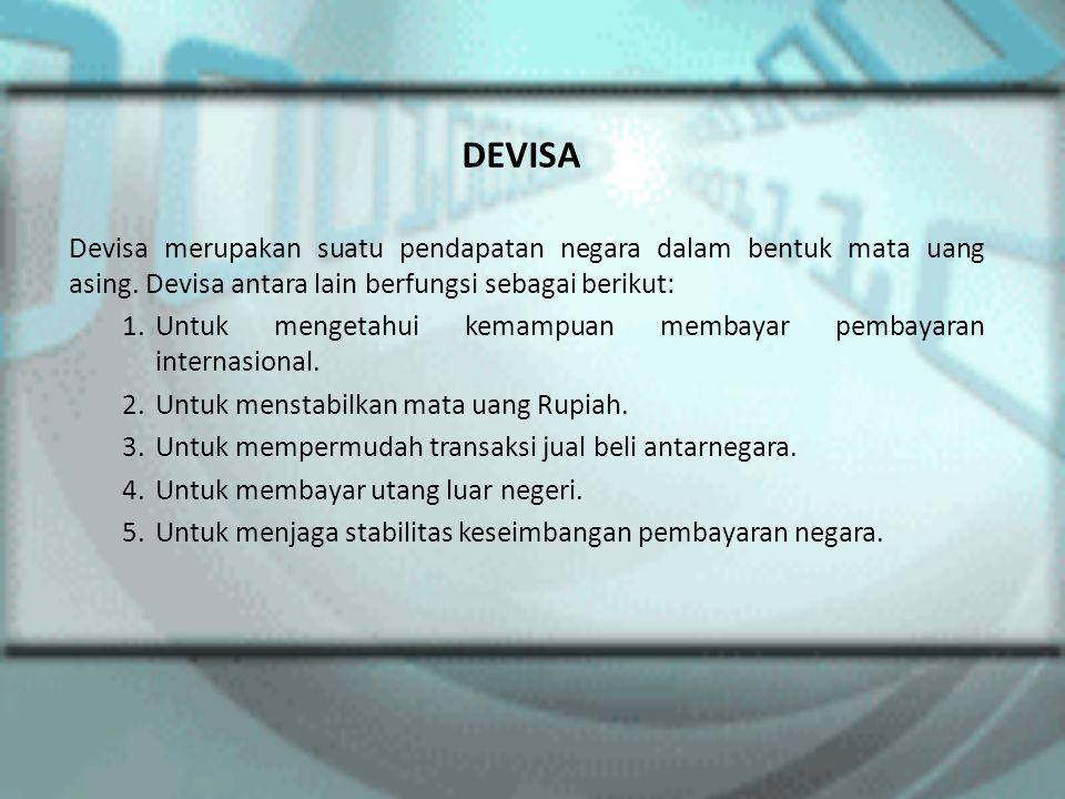 DEVISA Devisa merupakan suatu pendapatan negara dalam bentuk mata uang asing. Devisa antara lain berfungsi sebagai berikut:
