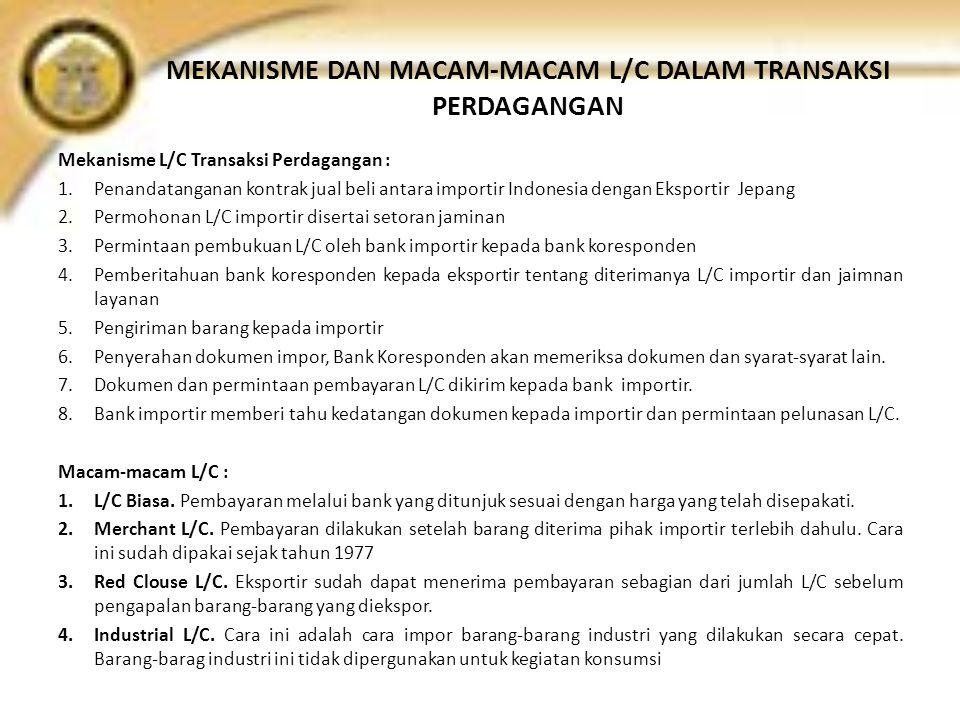 MEKANISME DAN MACAM-MACAM L/C DALAM TRANSAKSI PERDAGANGAN