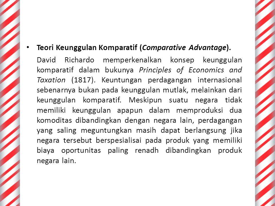 Teori Keunggulan Komparatif (Comparative Advantage).