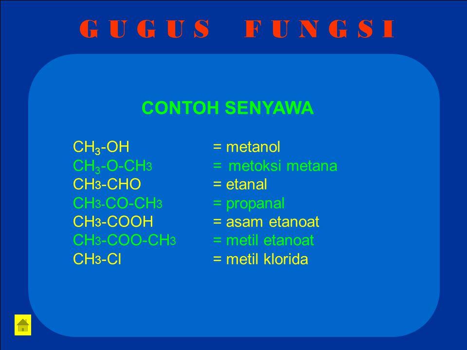 G U G U S F U N G S I CONTOH SENYAWA CH3-OH = metanol