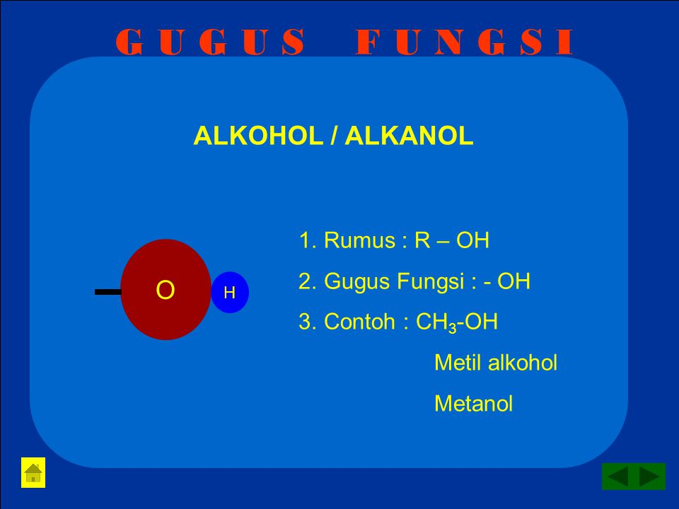 G U G U S F U N G S I ALKOHOL / ALKANOL O Rumus : R – OH