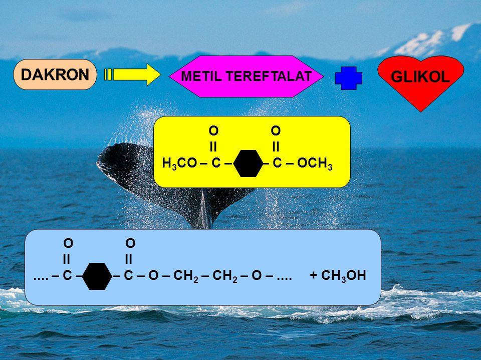 DAKRON GLIKOL METIL TEREFTALAT II II H3CO – C – – C – OCH3 II II