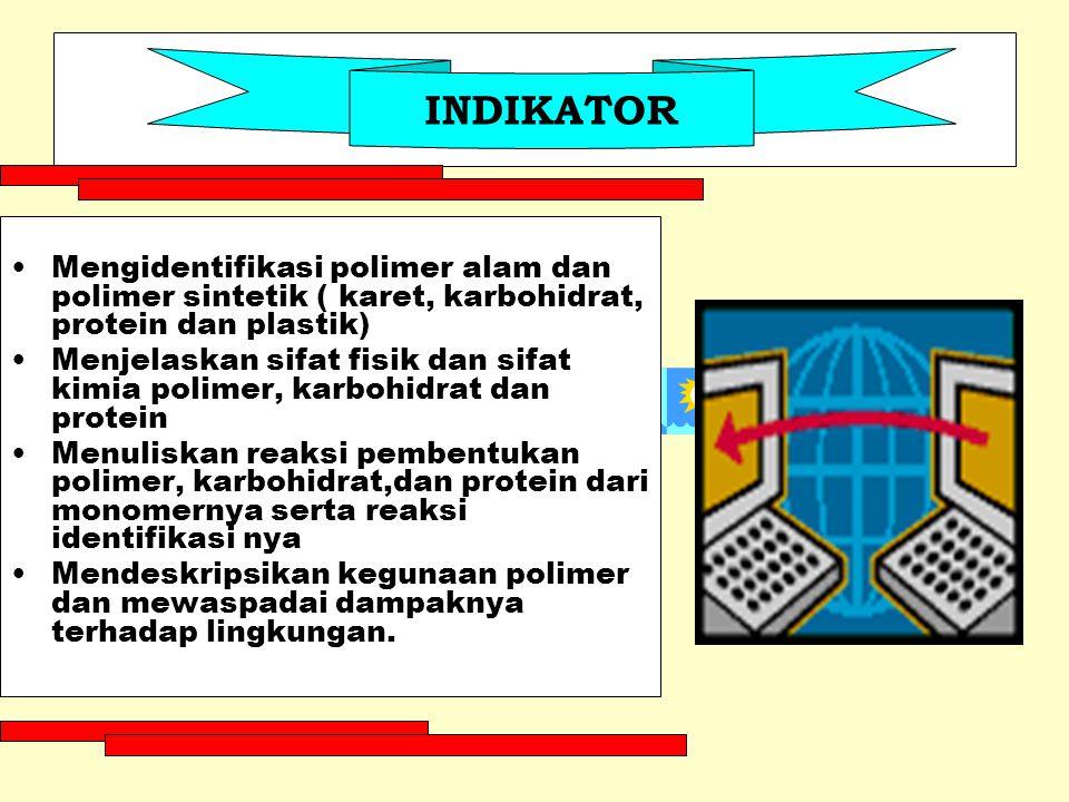 INDIKATOR Mengidentifikasi polimer alam dan polimer sintetik ( karet, karbohidrat, protein dan plastik)