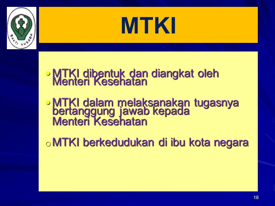 MTKI MTKI dibentuk dan diangkat oleh Menteri Kesehatan