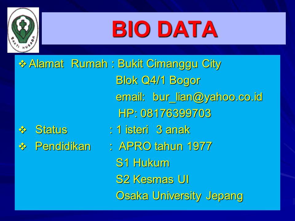 BIO DATA Alamat Rumah : Bukit Cimanggu City Blok Q4/1 Bogor