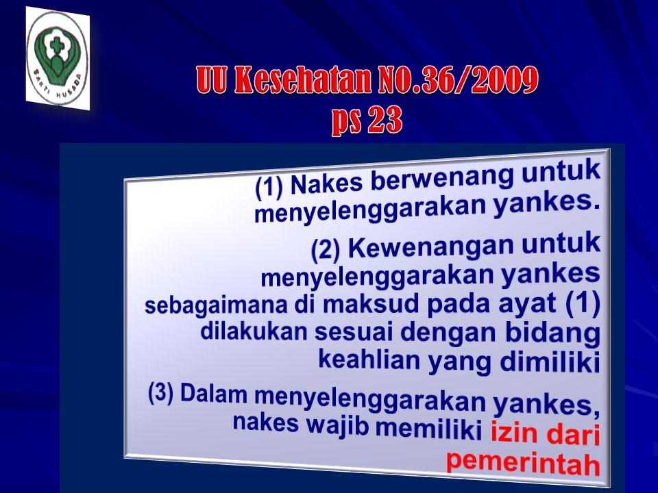 UU Kesehatan N0.36/2009 ps 23 (1) Nakes berwenang untuk menyelenggarakan yankes.