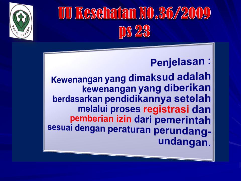 UU Kesehatan N0.36/2009 ps 23 Penjelasan :