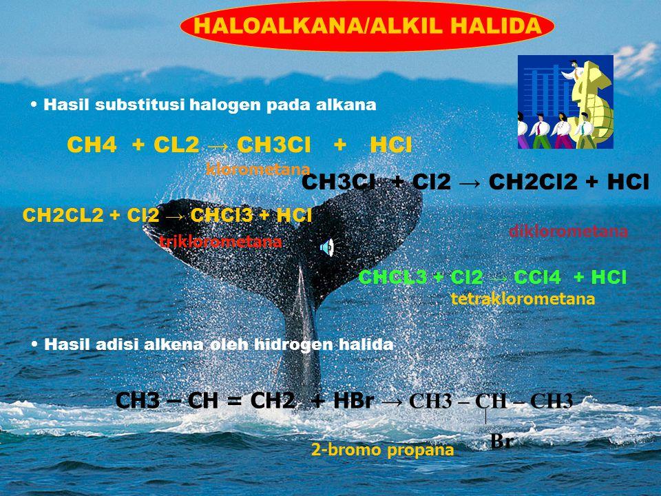 CH3 – CH = CH2 + HBr → CH3 – CH – CH3