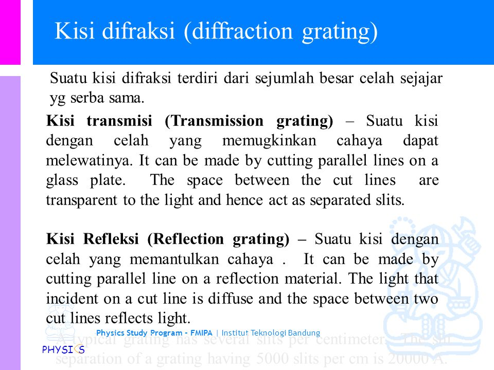 Kisi difraksi (diffraction grating)