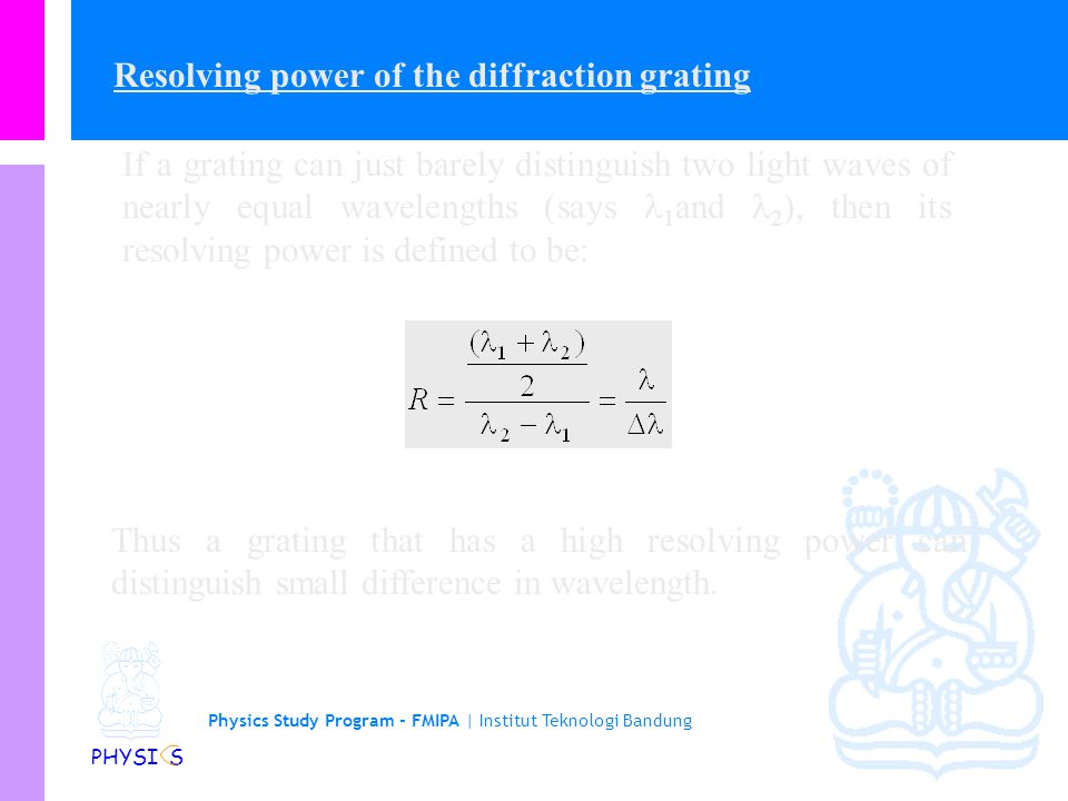 Resolving power of the diffraction grating