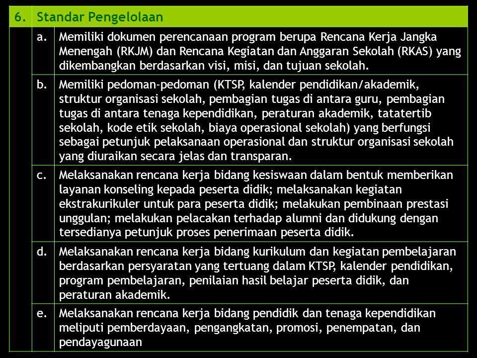 6. Standar Pengelolaan. a.