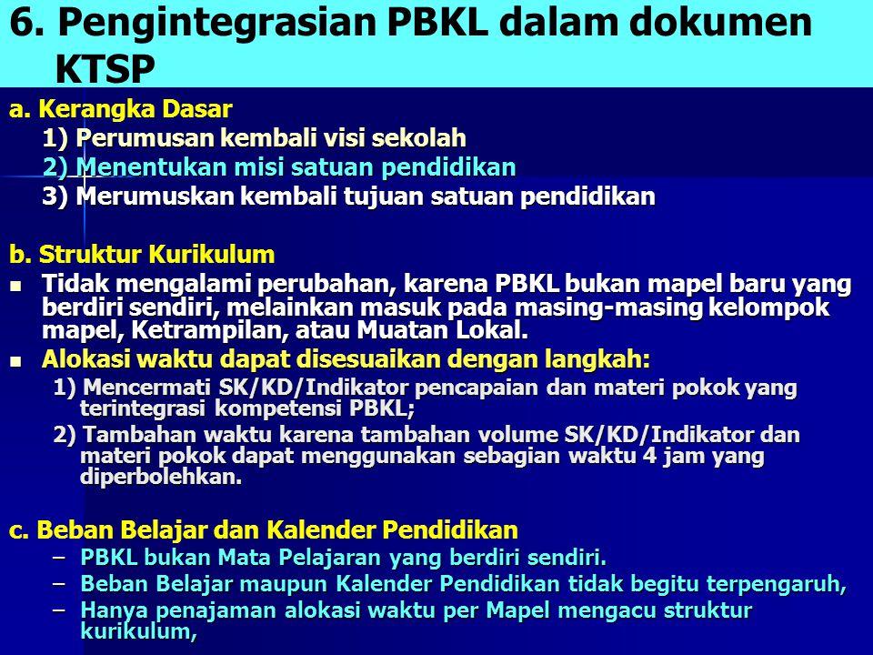 6. Pengintegrasian PBKL dalam dokumen KTSP