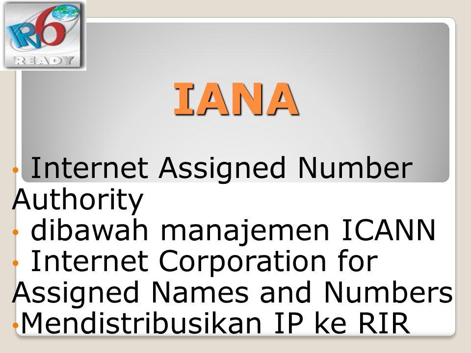 IANA Internet Assigned Number Authority dibawah manajemen ICANN
