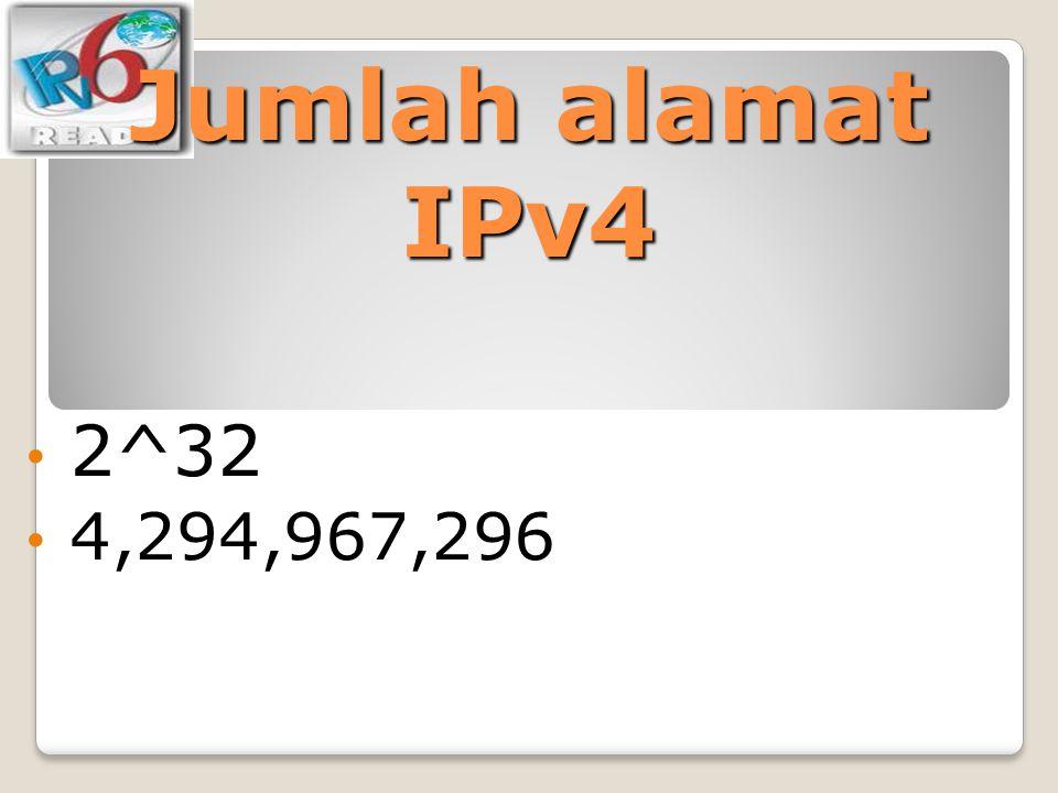 Jumlah alamat IPv4 2^32 4,294,967,296