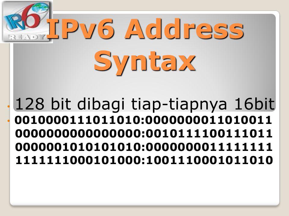 IPv6 Address Syntax 128 bit dibagi tiap-tiapnya 16bit