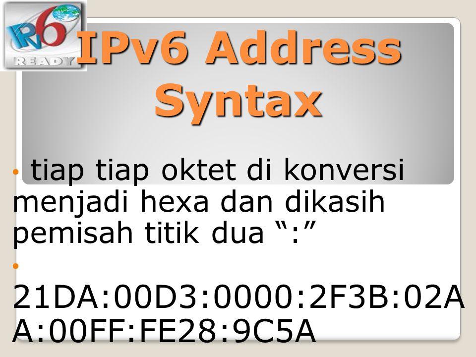 IPv6 Address Syntax tiap tiap oktet di konversi menjadi hexa dan dikasih pemisah titik dua : 21DA:00D3:0000:2F3B:02AA:00FF:FE28:9C5A.