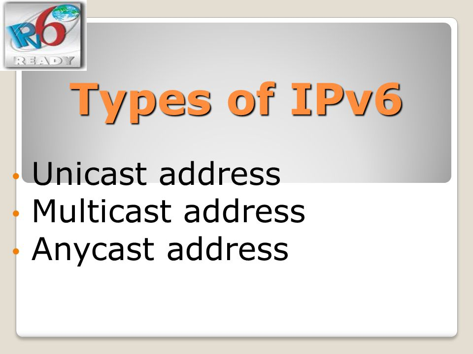 Unicast address Multicast address Anycast address