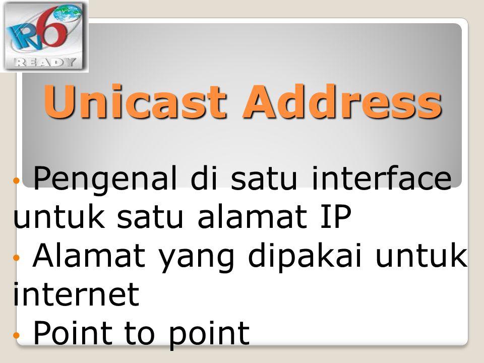Unicast Address Pengenal di satu interface untuk satu alamat IP