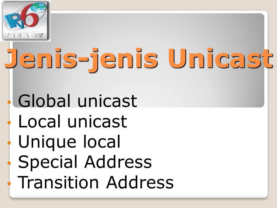 Jenis-jenis Unicast Global unicast Local unicast Unique local