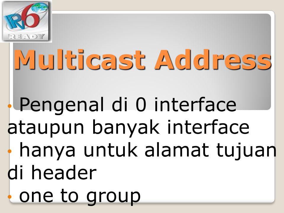 Multicast Address Pengenal di 0 interface ataupun banyak interface
