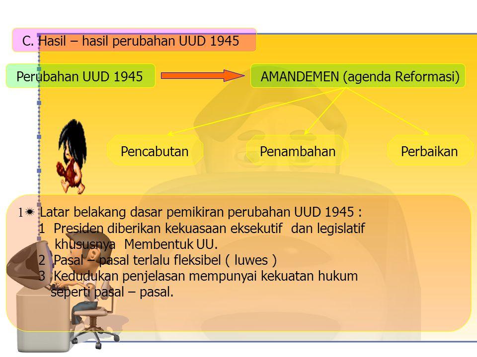 C. Hasil – hasil perubahan UUD 1945