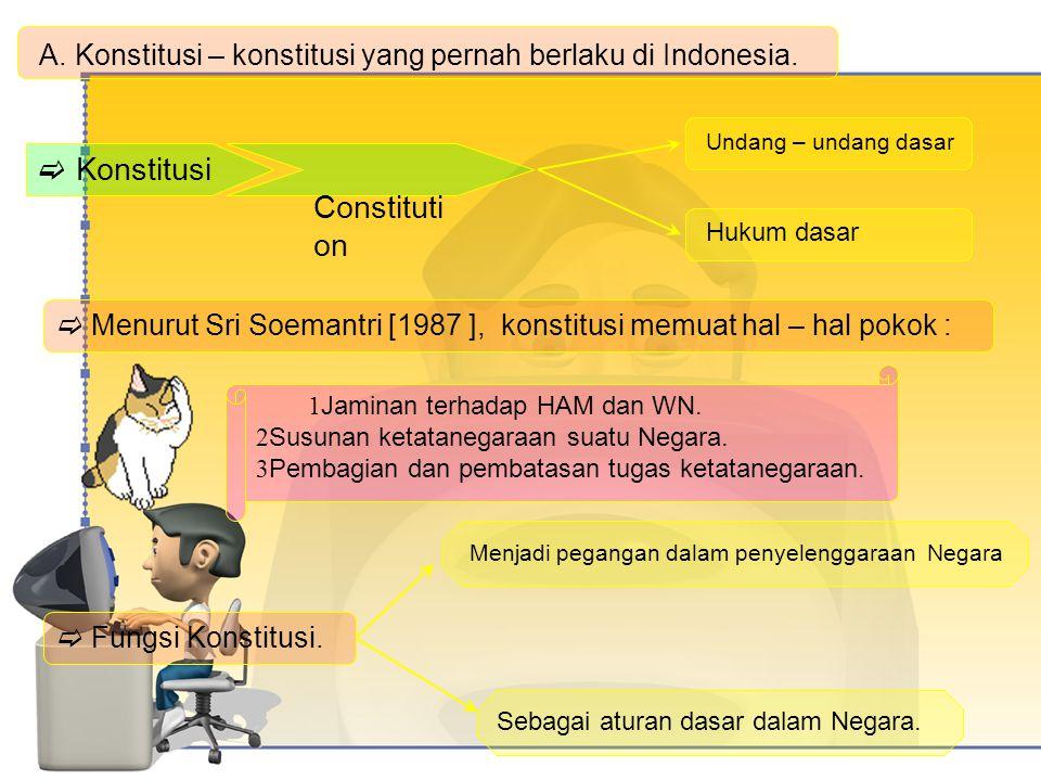 A. Konstitusi – konstitusi yang pernah berlaku di Indonesia.