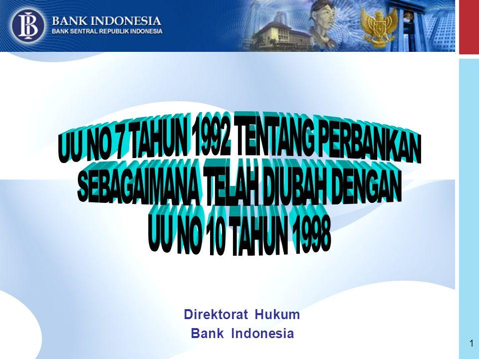 UU NO 7 TAHUN 1992 TENTANG PERBANKAN SEBAGAIMANA TELAH DIUBAH DENGAN