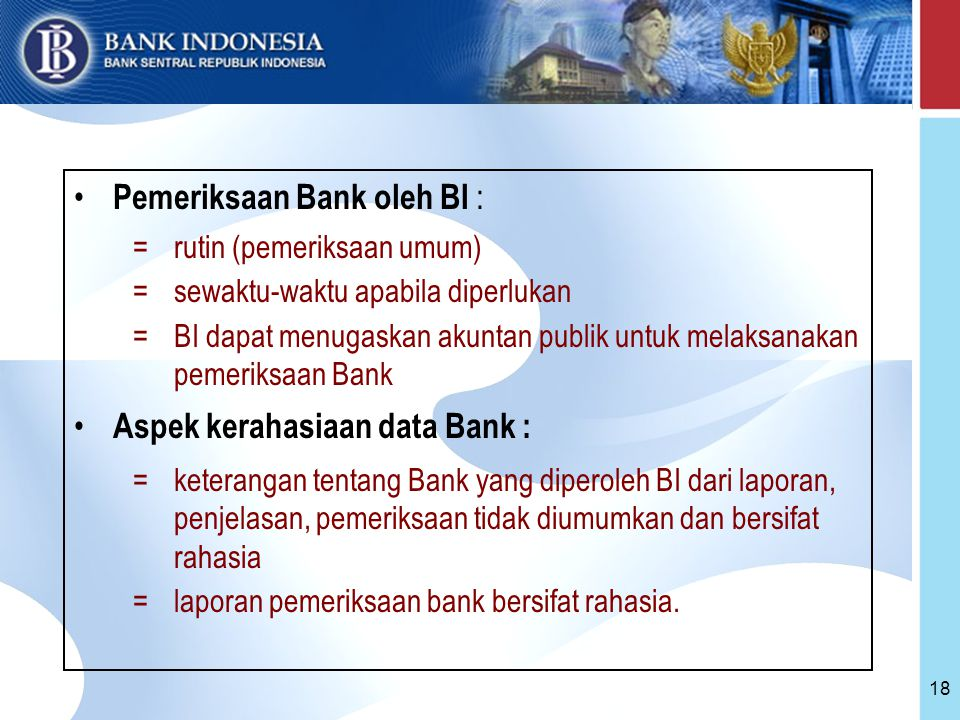 Pemeriksaan Bank oleh BI :
