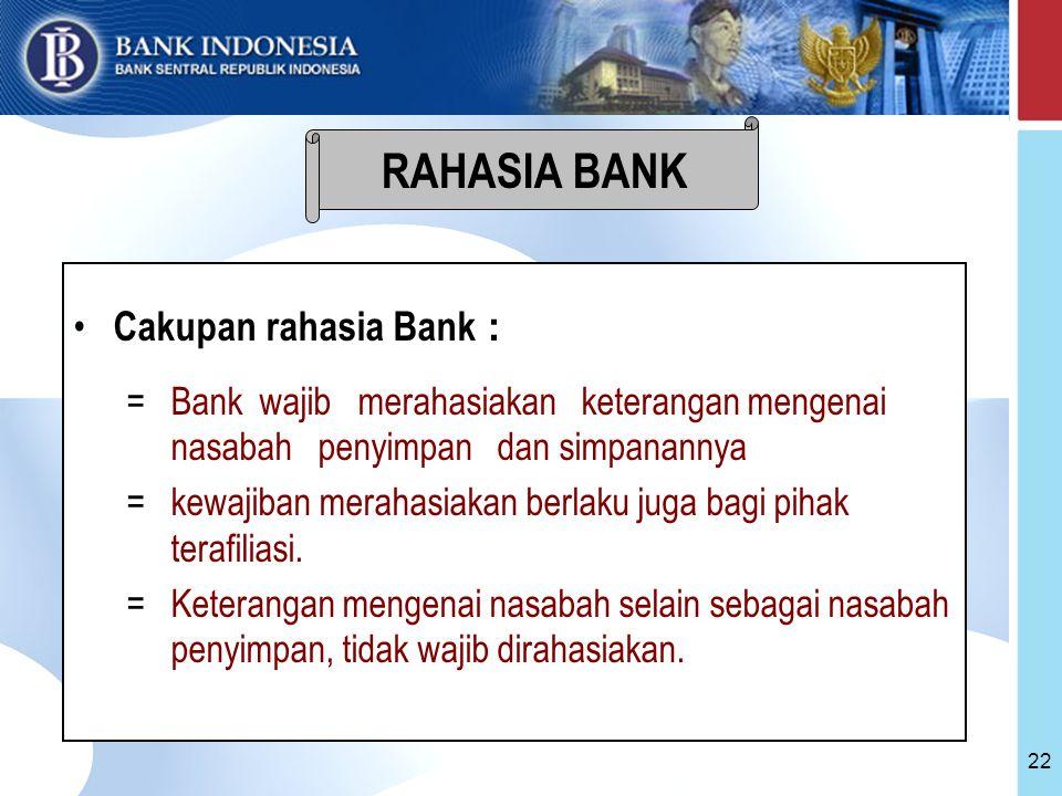 RAHASIA BANK Cakupan rahasia Bank :