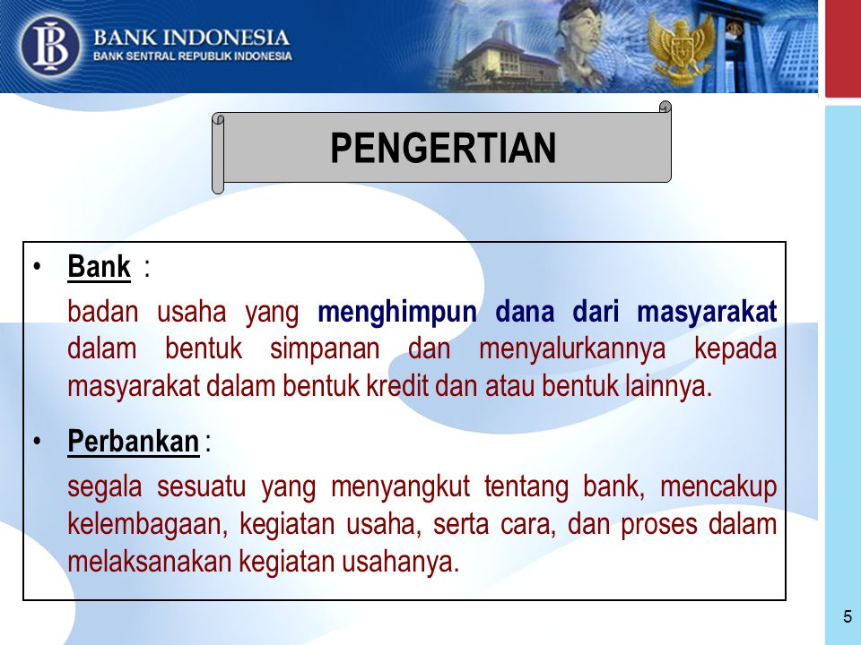 PENGERTIAN Bank :