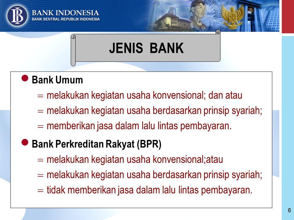 JENIS BANK Bank Umum melakukan kegiatan usaha konvensional; dan atau