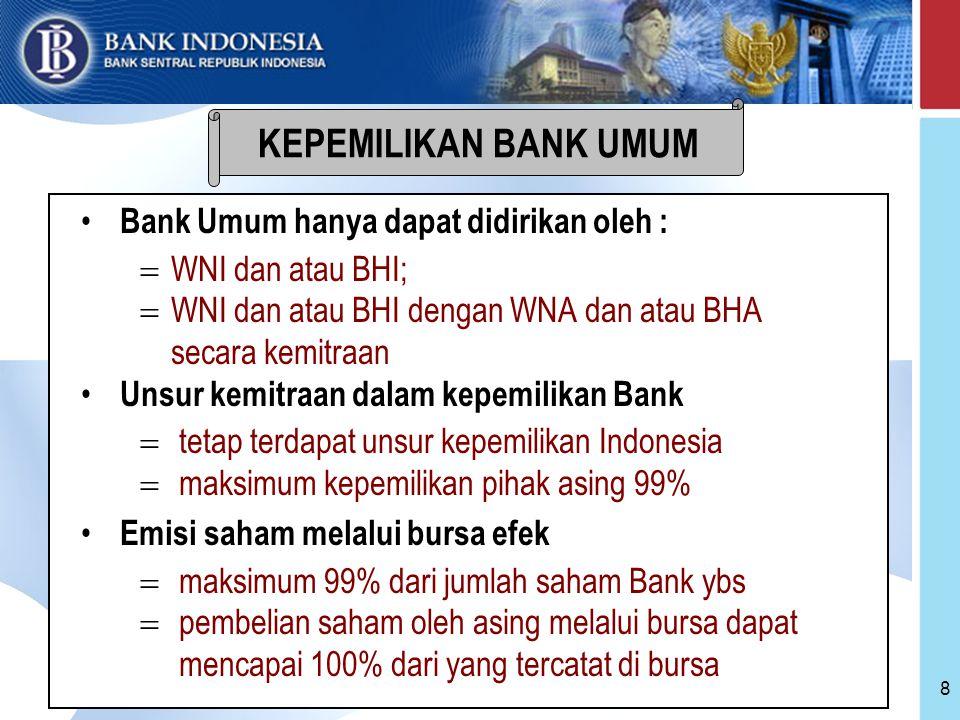 KEPEMILIKAN BANK UMUM Bank Umum hanya dapat didirikan oleh :