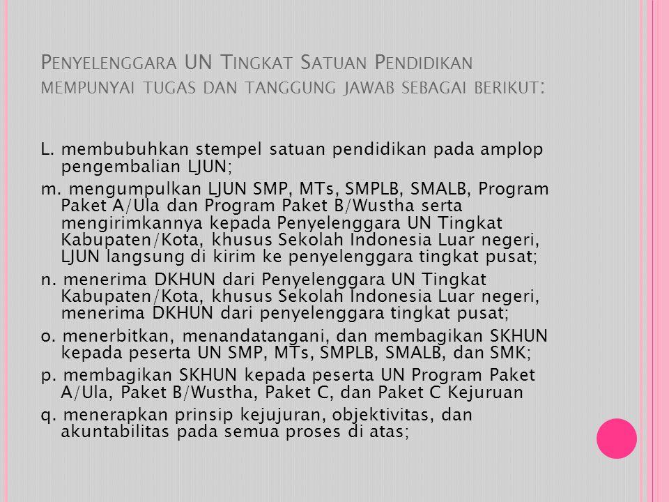 Penyelenggara UN Tingkat Satuan Pendidikan mempunyai tugas dan tanggung jawab sebagai berikut:
