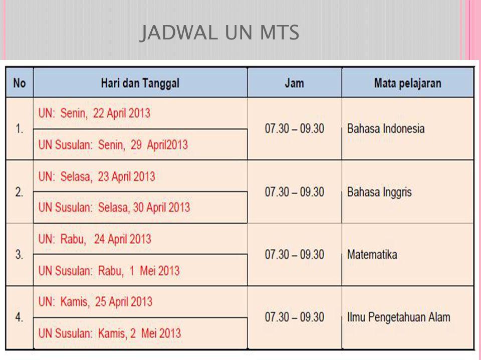 JADWAL UN MTS